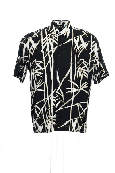 Cubavera Mens Black Graphic Camp Shirt