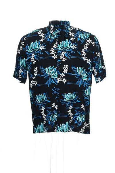 Cubavera Mens Black Floral Camp Shirt