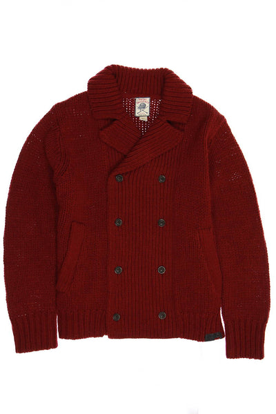 Diesel Mens Burgundy Cable Knit Shawl Neck Sweater