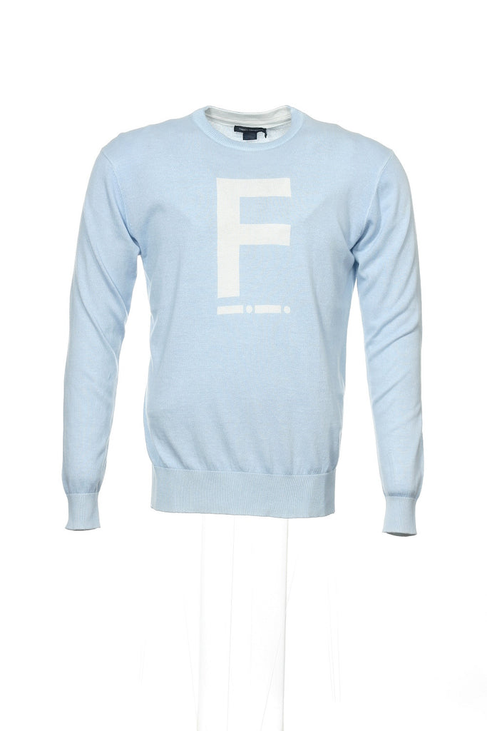 French Connection Morse F Mens Light Blue Graphic Crew Neck
