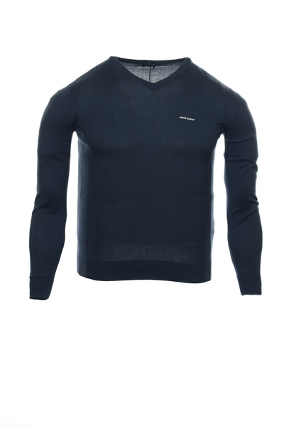 AJ|Armani Jeans Mens Blue Heather V-Neck Sweater