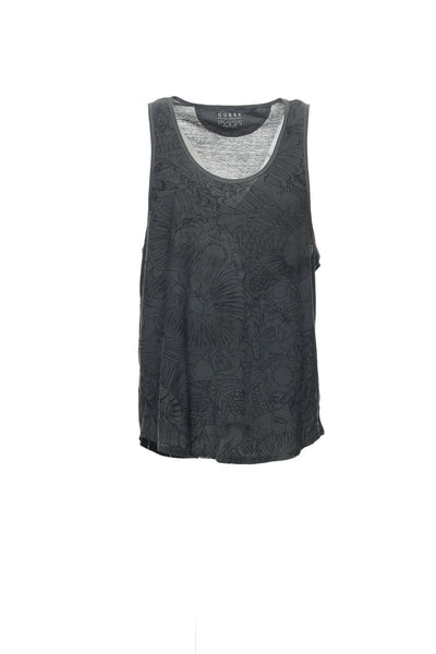 Guess Mens Gray Graphic Tank Top