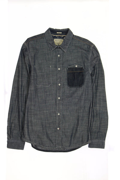 Guess 'Sullivan' Mens Blue Heather Button Down Shirt