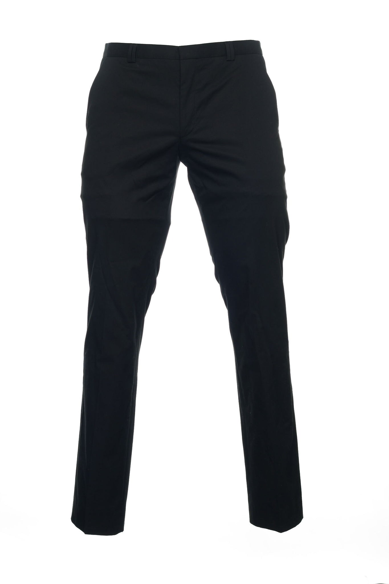 Hugo Boss Mens Black Flat Front Dress Pants
