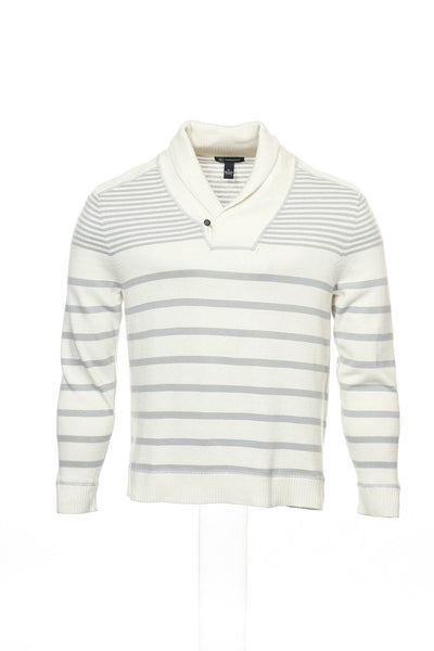 INC International Concepts Mens Light Gray Striped Shawl Neck Sweater