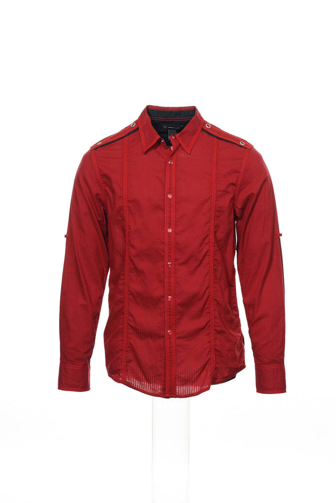 INC International Concepts Mens Red Pinstripe Button Down Shirt