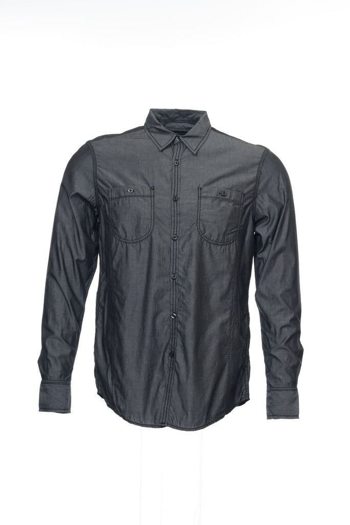 INC International Concepts Mens Black Herringbone Button Down Shirt
