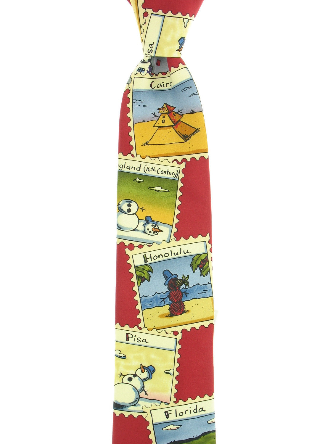 John Ashford Mens Red Graphic Tie