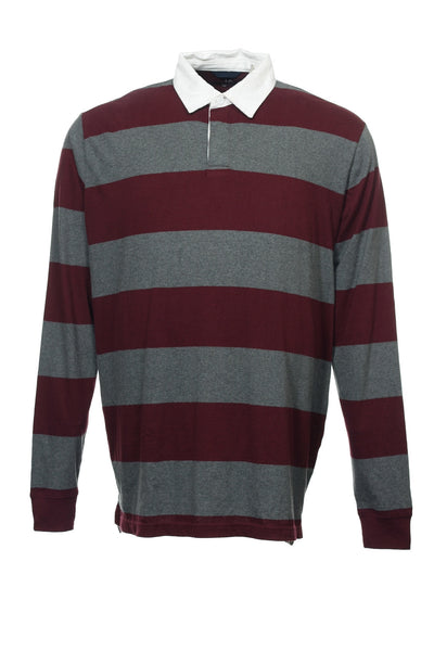 JA John Ashford Mens Burgundy Wide Striped Polo Shirt