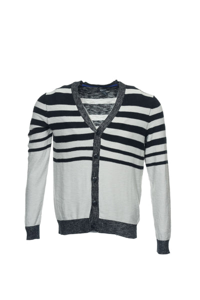 Kenneth Cole Reaction 'Go On Stripe' Mens Black Striped Cardigan Sweater