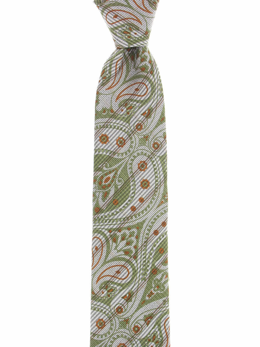 Michelsons of London Mens Olive Green Paisley Tie