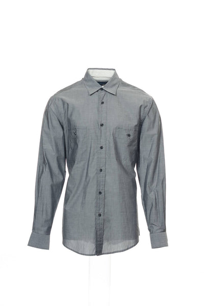 Michelsons Mens Gray Heather Button Down Shirt