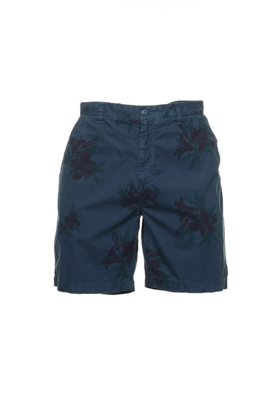 Nautica Mens Blue Floral Flat Front Walking Shorts