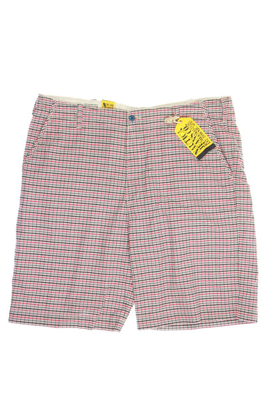 Nautica Jeans Co. Mens Red Plaid Flat Front Walking Shorts
