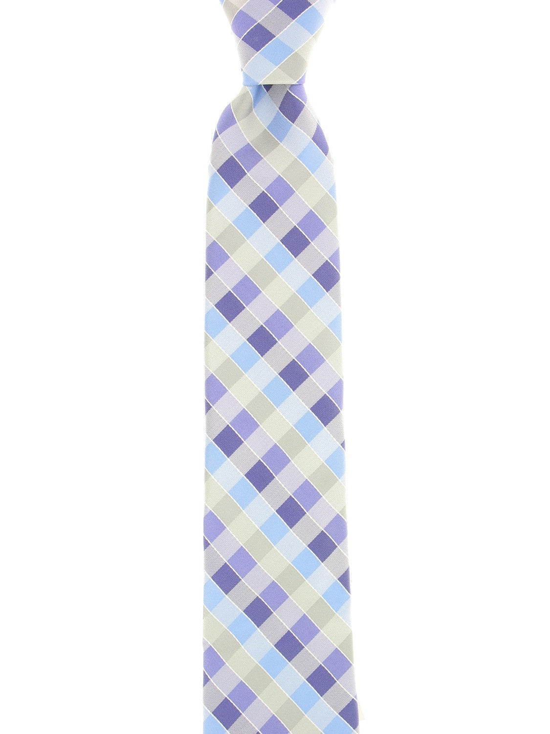 Perry Ellis Mens Light Purple Checked Tie