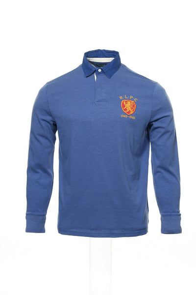 Polo by Ralph Lauren Mens Blue Color Block Rugby Shirt