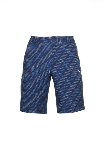 Puma 'Printed Plaid Short' Mens Blue Graphic Flat Front Walking Shorts