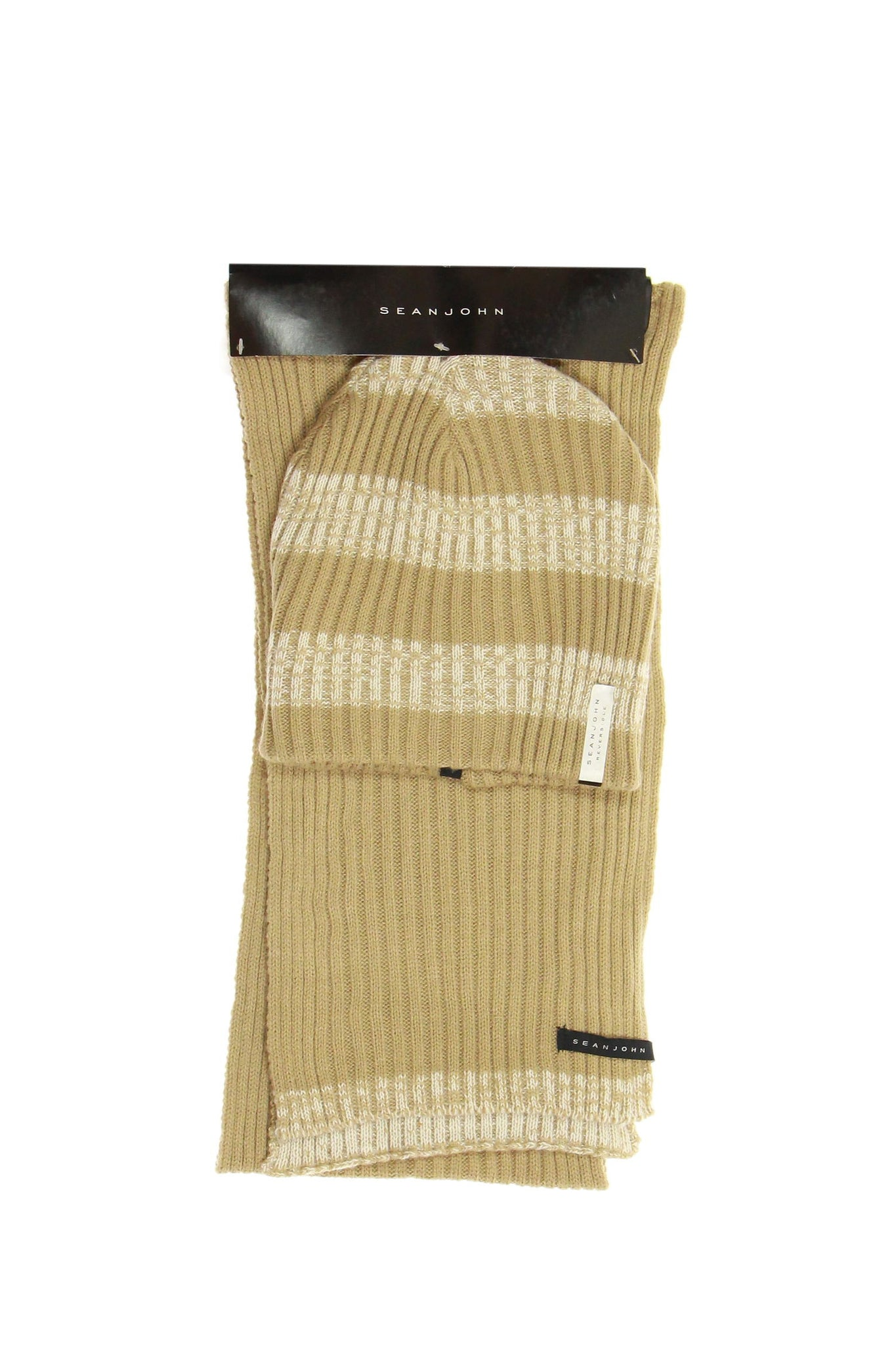Sean John Mens Beige Striped Beanie
