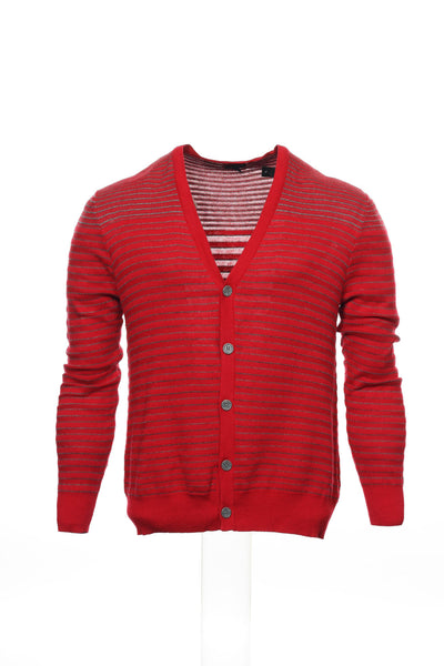 Sons of Intrigue Mens Red Striped Cardigan Sweater