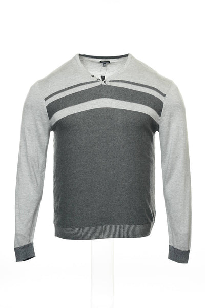 Sons of Intrigue Mens Gray Striped Henley Shirt