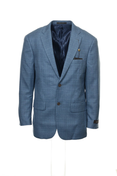 Tasso Elba Mens Blue Plaid Blazer