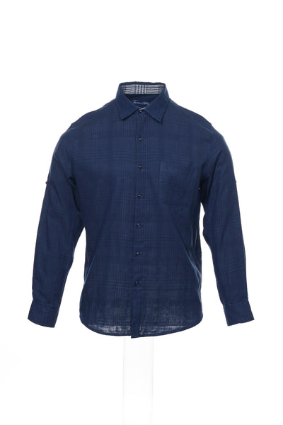 Tasso Elba Collezione Mens Blue Plaid Button Down Shirt