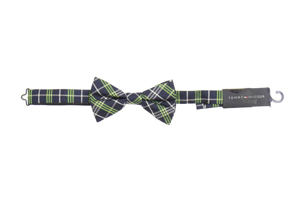 Tommy Hilfiger Mens Blue Plaid Pre-Tied Bow Tie