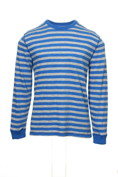 Tommy Hilfiger Mens Blue Wide Striped Crew Neck Sweater