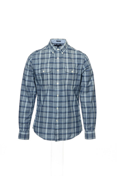Tommy Hilfiger Mens Blue Plaid Button Down Shirt