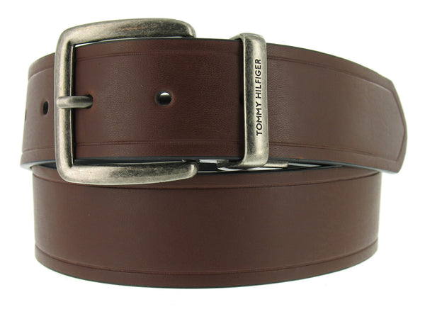 Tommy Hilfiger Mens Black-Brown Casual Belt