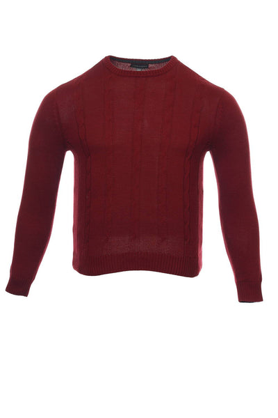Tricots St Raphael Mens Red Cable Knit Crew Neck Sweater