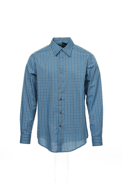 Via Europa Mens Blue Plaid Button Down Shirt