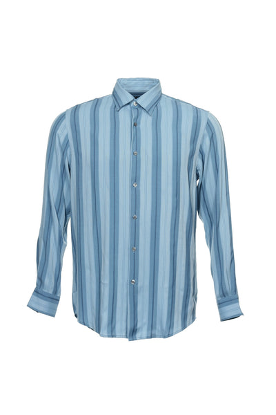 Via Europa Mens Blue Striped Button Down Shirt