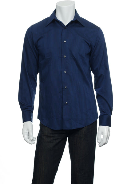 Van Heusen Mens Blue Striped Button Down Shirt