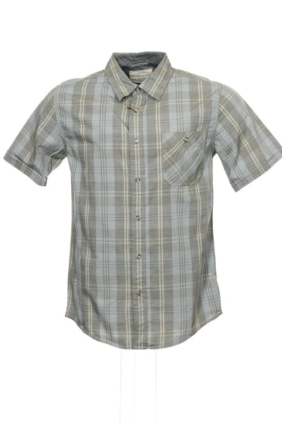Weatherproof Mens Gray Plaid Button Down Shirt