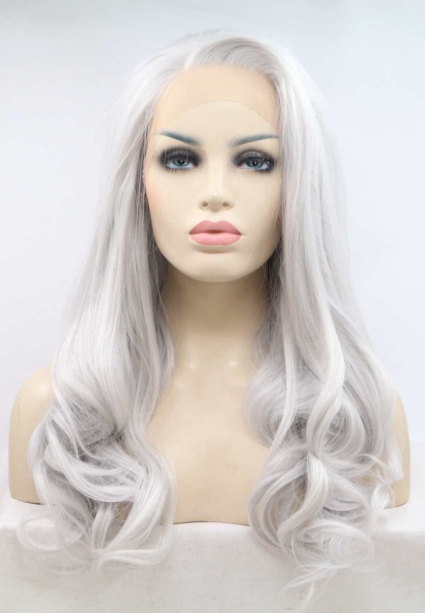 Silver Grey Side Part Synthetic Lace Front Wig USW084