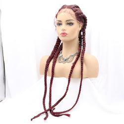 Long Burgundy Braids Wig 4 Braids Hair 99J UWS130