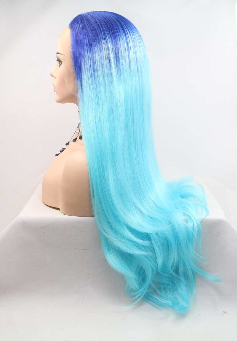 Two Tone Blue Wig Straight Hairstyle USW089