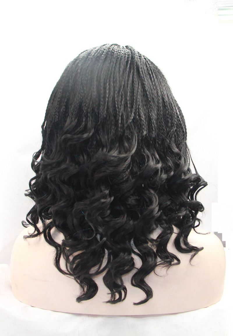 Black Micro Curly Braided Black Women Wig USW018