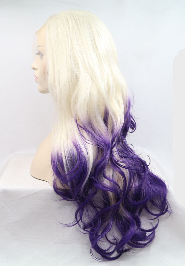 Ombre Blonde to Purple Wavy Wig USW068