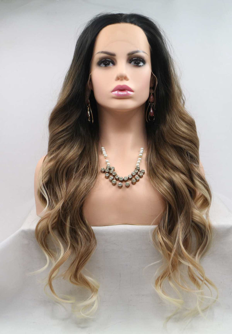 Uself Long Ombre black to brown Wig USW092
