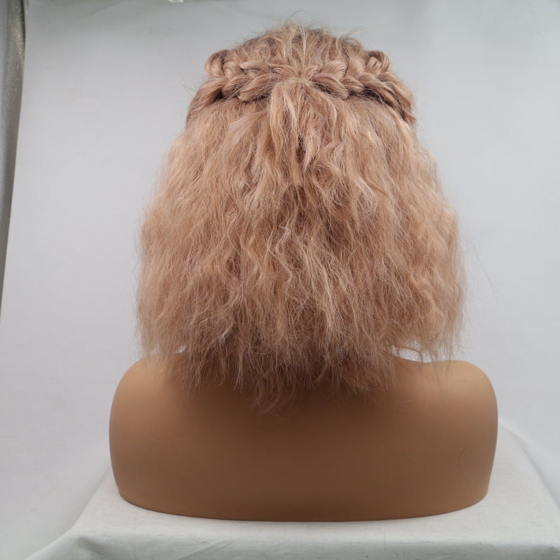Peach Pink Curly Wig Short Haircut Bob Synthetic Wig USW070