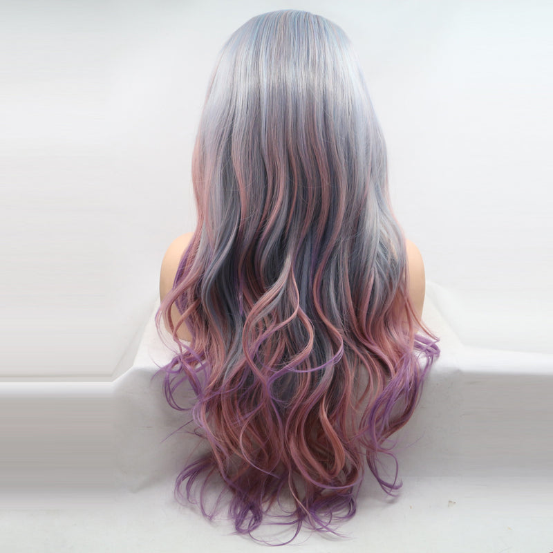 Side Parting Wavy Wig Grey Ombre Pink Hair USW082
