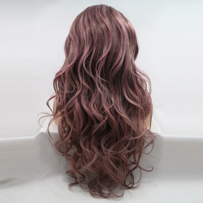 Mix Color Red Purple Wavy Wig USW062