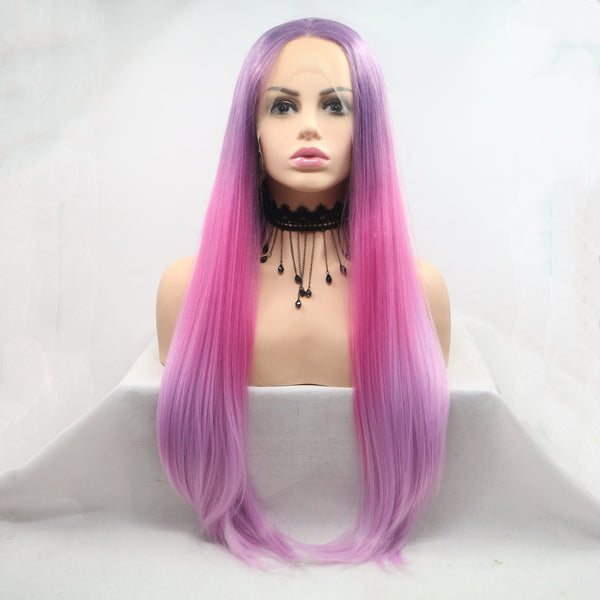 Amethyst Mermaid Synthetic Lace Front Straight Wig USW07