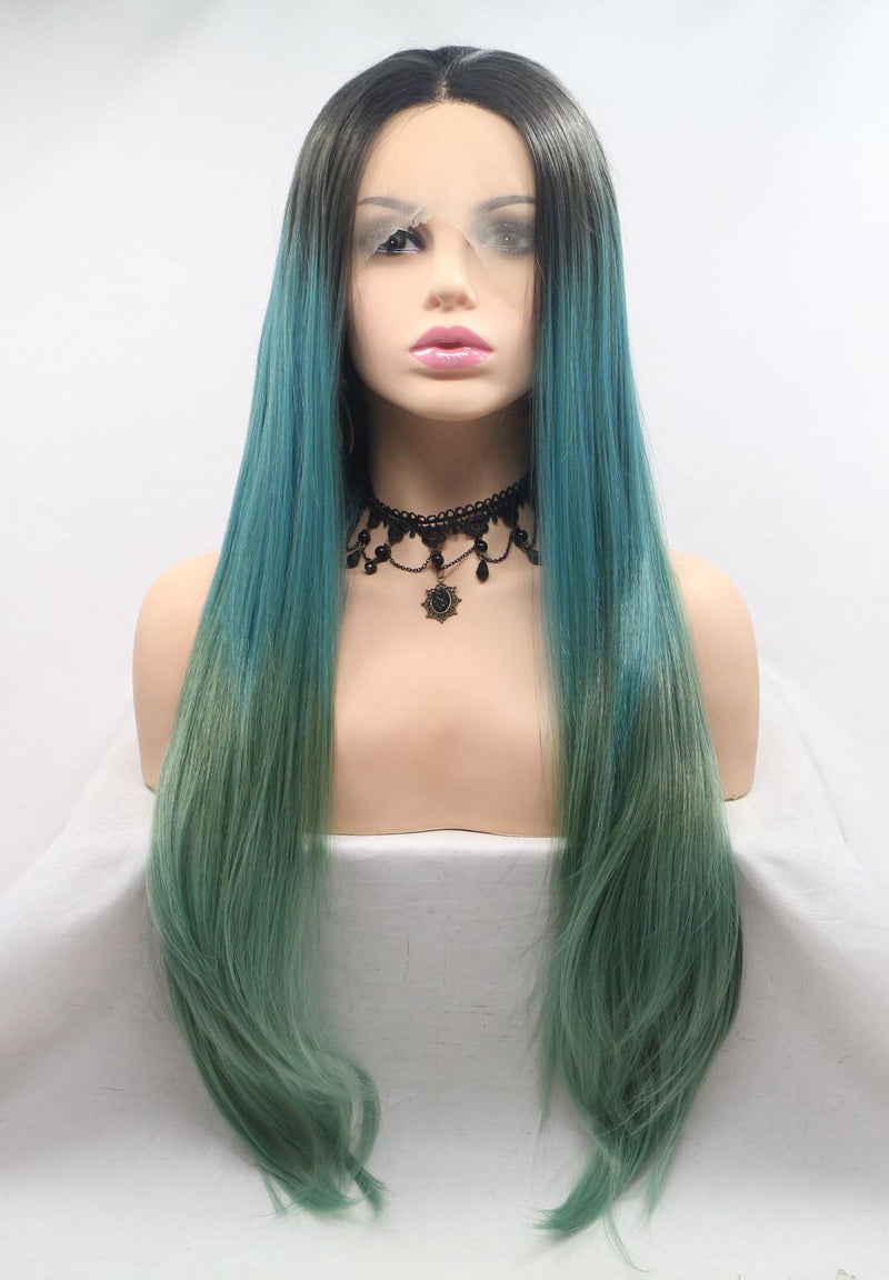 Arwen Natural Straight Ombre Green Wig USW010