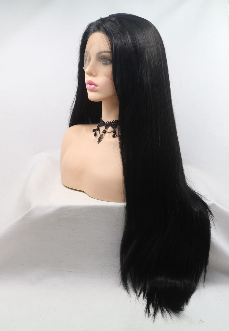 1B Long Black Straight KANEKALON Synthetic Wig USW01