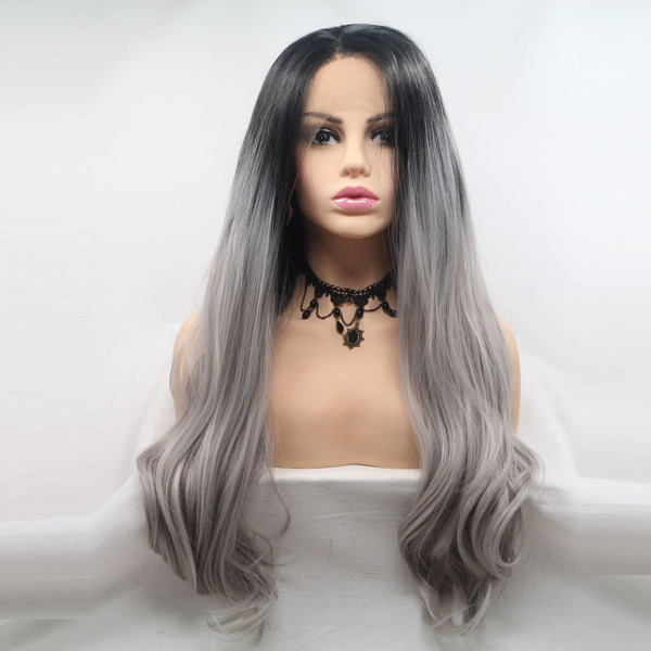Everyday Grey Glueless Lace Front Wig USW036