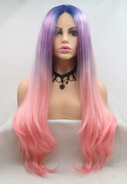 Pink Ombre Synthetic Wavy Lace Front Wig USW097