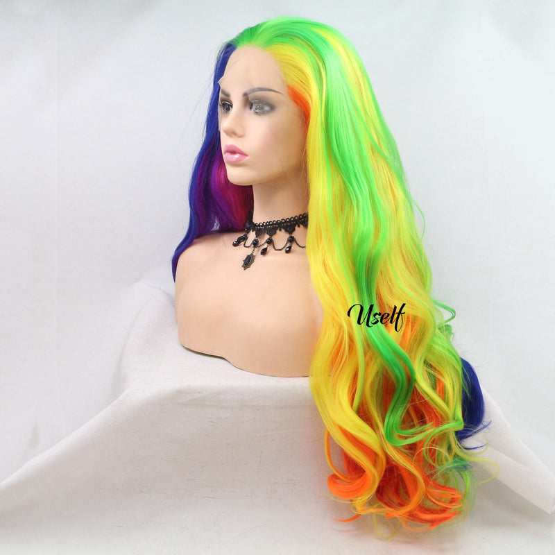 Rainbow Colorful Cosplay Party Wig USW076